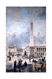 Obelisk of Luxor and the Place De La Concorde, 1891 Giclee Print by Emmanuel Lansyer