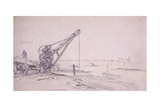Crane at Westminster Bridge, London, C1830 Giclee Print by Edward William Cooke