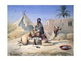 Bedouin and Camel, 1830 Reproduction procédé giclée par Emile Prisse d'Avennes