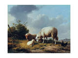 Sheep and Poultry in a Landscape, 19th Century Giclee Print by Eugène Verboeckhoven