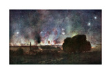 Arras on Fire at At Night, France, July 1915 Giclee Print by Francois Flameng