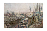 A French Trench in the Village of Souchez, Artois, France, 18 December 1915 Giclee Print by Francois Flameng