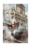 Arras Cathedral on Fire, France, July 1915 Giclee Print by Francois Flameng