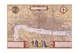 Map of the City of London, Southwark and Part of Westminster, 1572 Stampa giclée di Franz Hogenberg
