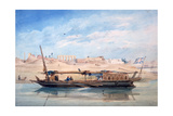 A Boat on the Nile, Luxor, Egypt, 19th Century Giclee Print by Emile Prisse d'Avennes
