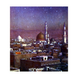 View of Medina, Arabia, by Moonlight, Showing the Dome of the Tomb of the Prophet, 1918 Giclée-tryk af Etienne Dinet