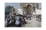 An Open-Air Restaurant at Lahore, India, 1880 Giclee Print by Edwin Lord Weeks