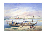 A Boat on the Nile, Egypt, 19th Century Giclee Print by Emile Prisse d'Avennes