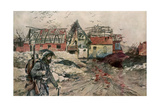 The Ruins of Ablain-Saint-Nazaire, Artois, France, December 1915 Giclee Print by Francois Flameng