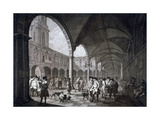 View of the Courtyard in the Royal Exchange with Merchants and Brokers, City of London, 1788 Giclee Print by Francesco Bartolozzi