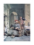 Knight and Page, 19th Century Giclee Print by George Cattermole