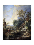 Landscape with a Hermit, 1742 Giclee Print by François Boucher