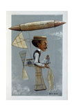 Alberto Santos-Dumont and His Airship, 1901 Giclee Print by George Hum