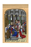 Coronation of Charles V, King of France, 14th Century Giclee Print by Franz Kellerhoven