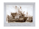 Floating Dock at Rotherhithe, London, C1810 Giclee Print by Francois Louis Thomas Francia