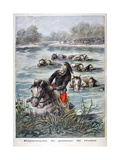French Cavalry Fording a River, 1896 Giclee Print by Frederic Lix