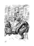 Mr Riah and Miss Wren at the Six Jolly Fellowship Porters, 1912 Giclee Print by Harry Furniss