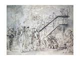 'Le Grand Café' 1759 Giclee Print by Gabriel De Saint-aubin