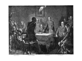 Discussing the Surrender of France after the Battle of Sedan, Franco-Prussian War, 1870 Giclee Print by Georg Bleibtreu