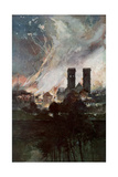 Bombardment of Verdun with Incendiary Shells, France, 25-26 March 1916 Giclee Print by Francois Flameng