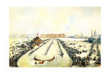 Horse Racing on the Frozen Neva River in St Petersburg, Russia, 1859 Giclee Print by Iosif Adolfovich Charlemagne
