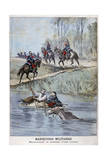 French Military Maneuvers, Fording a River, 1898 Giclee Print by Henri Meyer