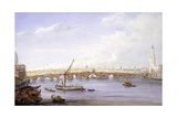 Old and New London Bridges, London, 1831 Giclee Print by George Scharf