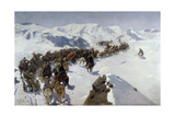 Count Argutinsky Crossing the Caucasian Range, 1892 Giclee Print by Franz Roubaud