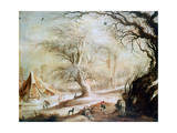 Winter Landscape, C1606-1656 Giclee Print by Gysbrecht Leytens