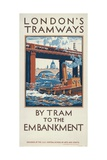By Tram to the Embankment, London County Council (Lc) Tramways Poster, 1924 Giclee Print by Herbert Kerr Rooke