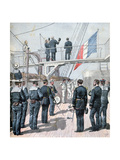 Salute to the Flag, French Naval Manoeuvres, 1891 Giclee Print by Henri Meyer