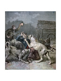 A Criminal Attacked by Three Large Dogs, 1891 Giclee Print by Henri Meyer