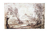 Landscape, 17th Century Giclee Print by  Guercino