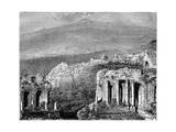 Mount Etna and a View of Taormina, Sicily, Italy, 19th Century Giclee Print by Hubert Clerget