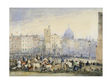 View of Smithfield Market with Figures and Animals, City of London, 1824 Giclee Print by George Sidney Shepherd