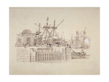 View of the Wapping Entrance and South Quay of London Docks, C1824 Giclee Print by Henry Moses