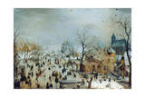 Winter Scene with Ice Skaters, C1608 Giclée-tryk af Hendrick Avercamp