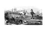 French Miners Working a Long Tom Sluice, California, 19th Century Giclee Print by Gustave Adolphe Chassevent-Bacques