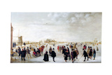 Winter Landscape on the River Ijsel Near Kampen, C1615 Impression giclée par Hendrick Avercamp