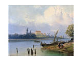 People by the Boats in Holland, C1835-1882 Giclee Print by Hermanus Koekkoek