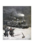 Train Blocked by Snow, France, 1892 Giclee Print by Henri Meyer