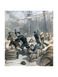 Brawl Between English and German Sailors at Millwall Docks, London, 1892 Giclee Print by Henri Meyer