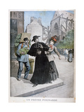 A Catholic Priest Is Stabbed by a Woman on the Street, France, 1897 Giclee Print by Henri Meyer