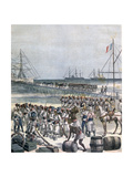 Landing of the Senegalese Troops at the New Wharf in Cotonou, Benin, 1892 Giclee Print by Henri Meyer