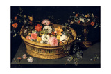 Flower Basket and Goblet in Gilded Silver, Still Life, 17th Century Giclee Print by Jan Bruegel the Younger