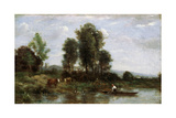 Landscape with a River, 19th Century Giclee Print by Jean-Baptiste-Camille Corot