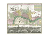 Map of Westminster, the City of London and Southwark, 1720 Giclee Print by Johann Thomas Kraus