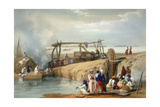Persian Wheel Raising Water from the Sutlej River, Punjab, 1842 Giclee Print by James Atkinson
