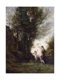 A Nymph Playing with Cupid, 1857 Giclee Print by Jean-Baptiste-Camille Corot