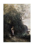 Shepherdess with a Cow at the Edge of the Forest, 1865-1870 Giclee Print by Jean-Baptiste-Camille Corot